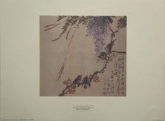 """Blue Bird Feeding Her Chicks"" Attributed to T'eih Tao-jen, Printed in U.S.A."
