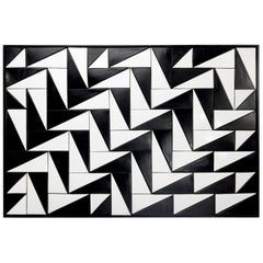 Tejo Black and White Handmade Decorative Tile Panel
