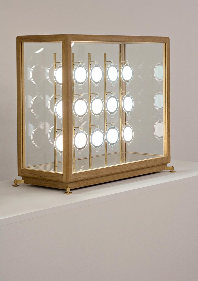 Teka Teak and Brass OLED Sculpture/Table Lamp, Designed by Aldo Cibic 2
