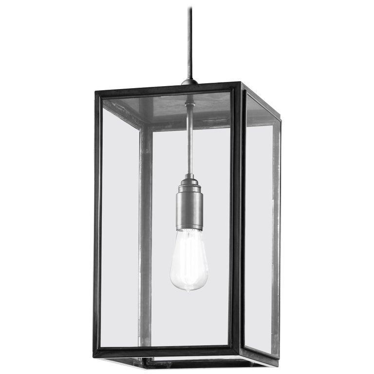Tekna Ilford C Pendant Light Closed Top And Clear Gl In Dark Bronze Finish