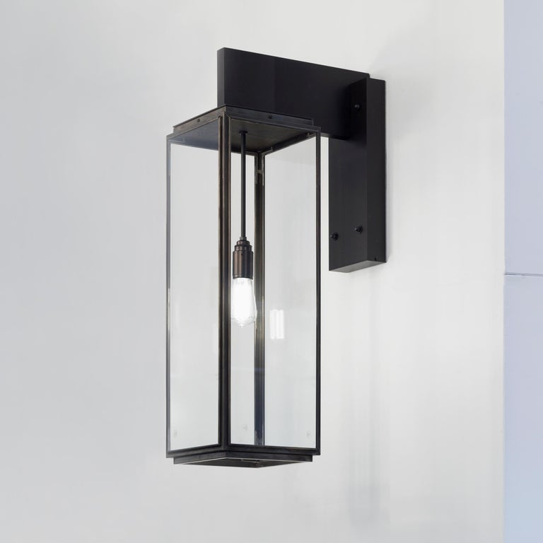 Tekna Ilford Wall Light on Bracket 700 with Dark Bronze Finish and Clear Glass For Sale 1
