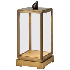 Tekna Minor Rechargeable Table Lamp with Distressed Brass Finish & Clear Glass