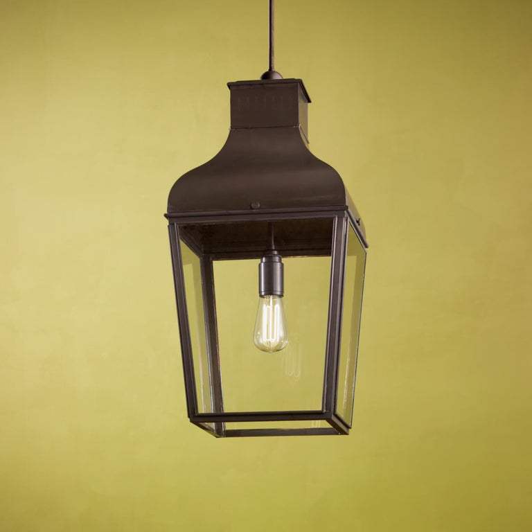 Belgian Tekna Montrose LED Pendant Light with Dark Bronze Finish and Clear Glass For Sale