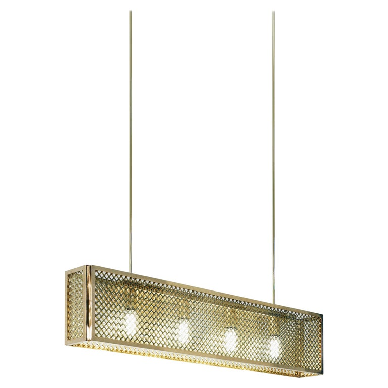 Tekna Portreath Mesh-C Chandelier with Polished Brass Finish and Clear Glass For Sale