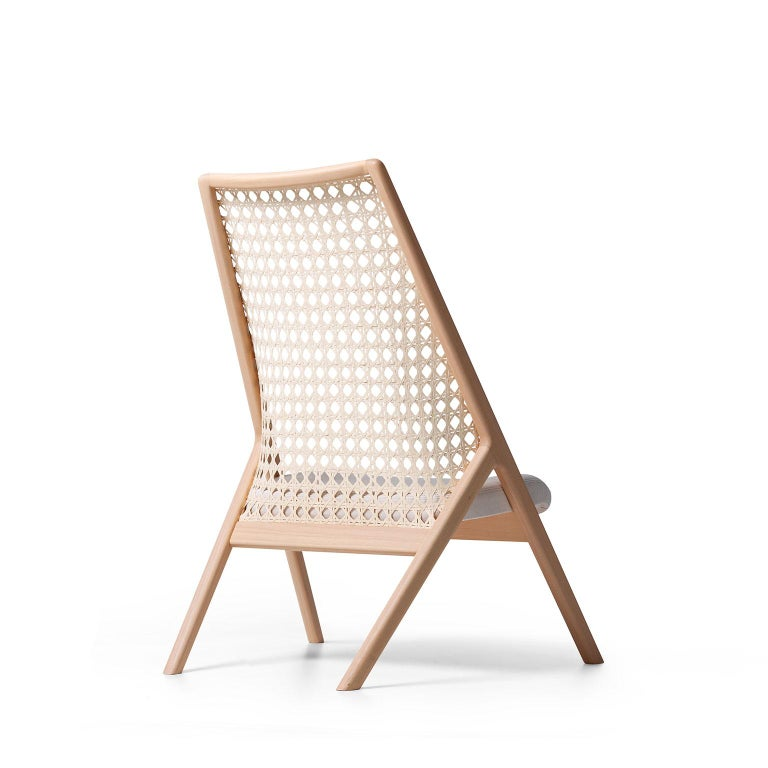 Hand-Woven Tela Lounge Chair in Recycled Cotton, by Wentz, Brazilian Contemporary Design For Sale