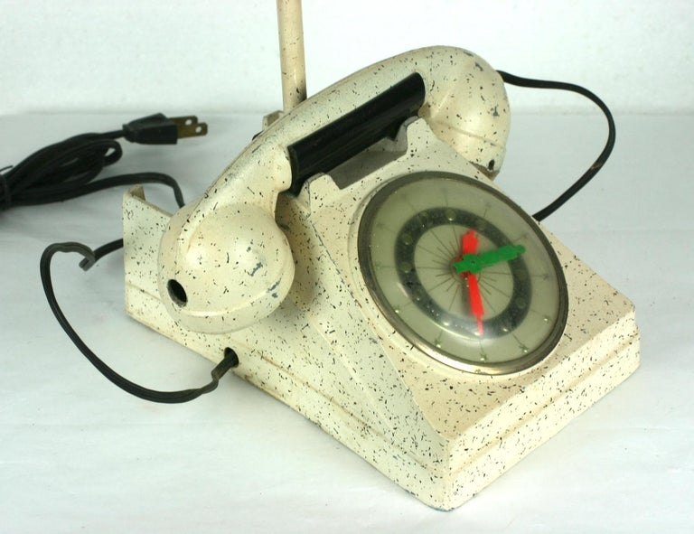 Telephone Clock Table Lamp For Sale 5
