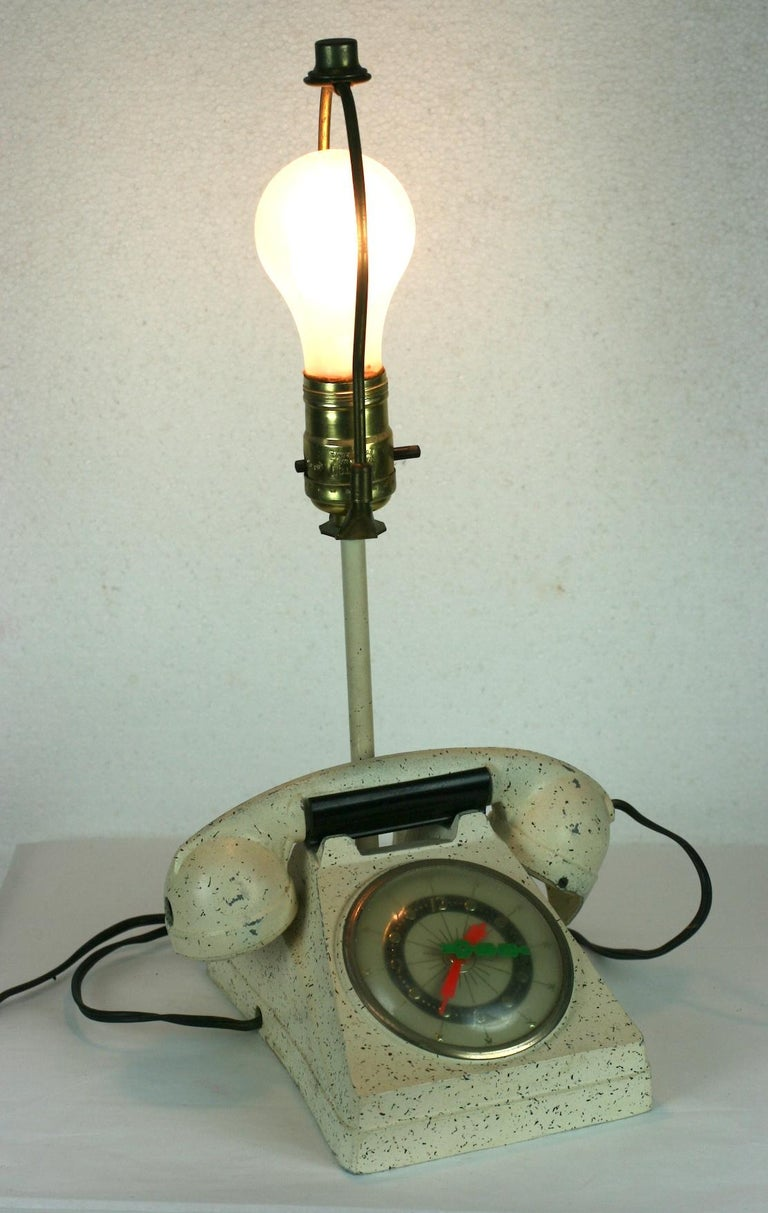 Telephone Clock Table Lamp For Sale 6