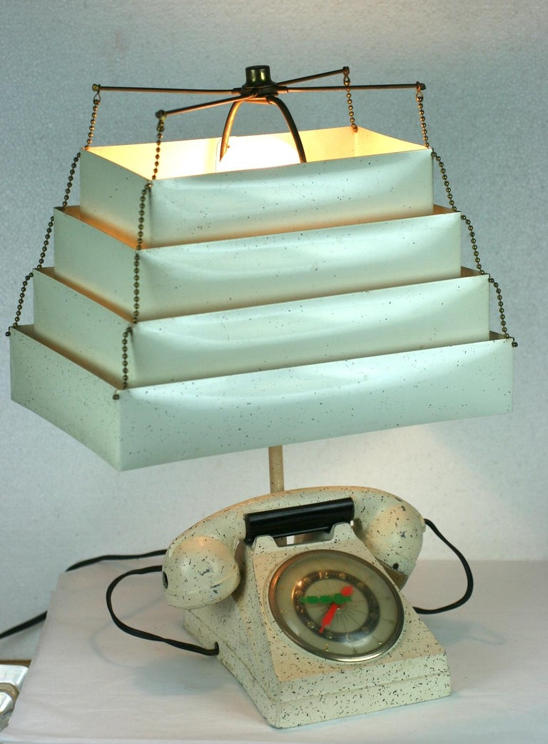 Telephone Clock Table Lamp For Sale 7