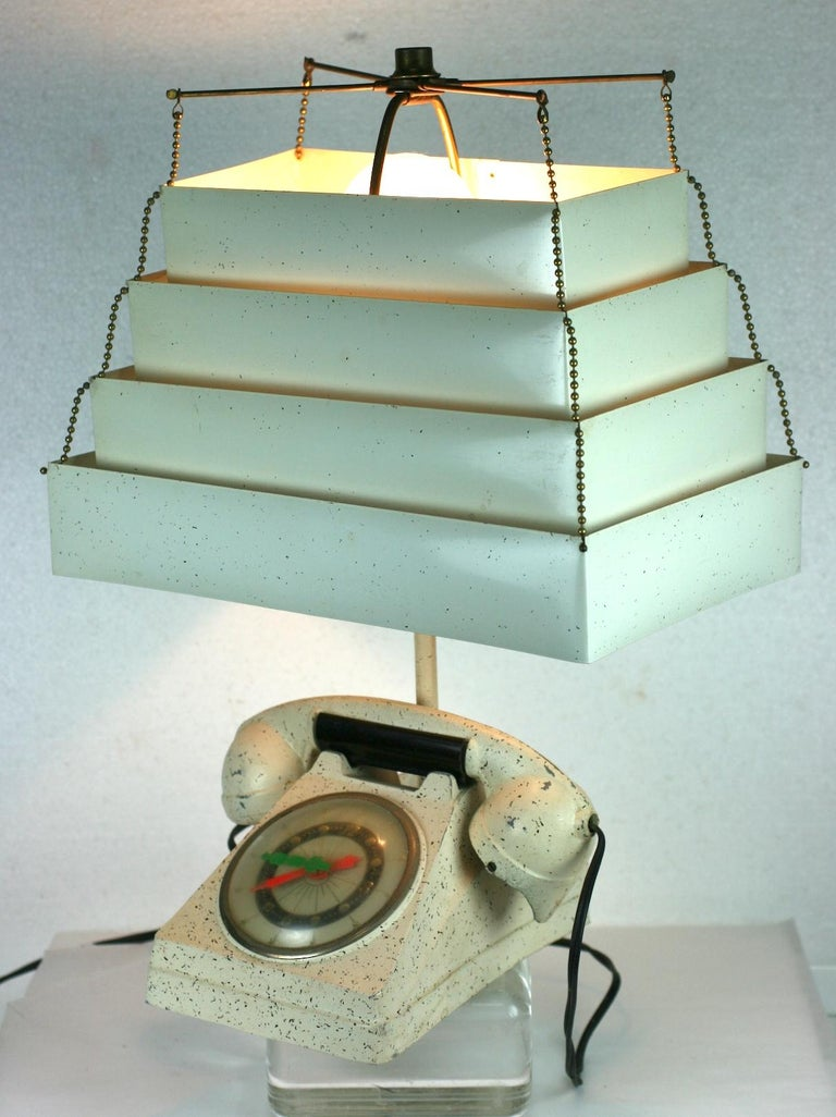 Telephone Clock Table Lamp For Sale 8