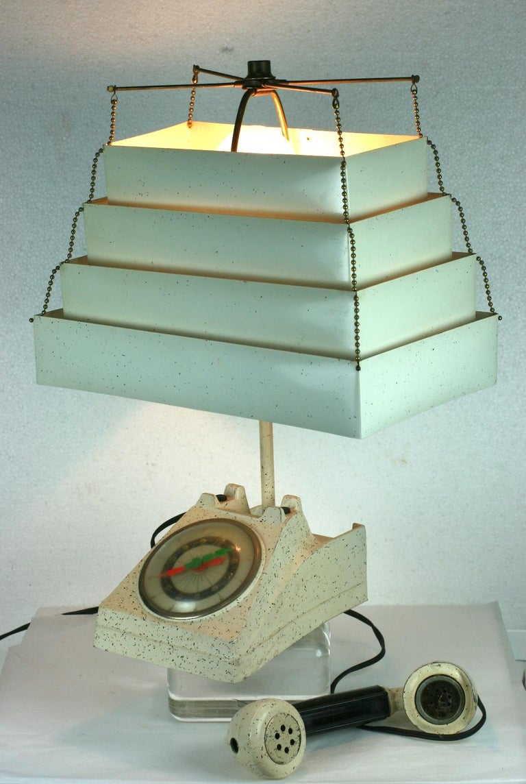 Telephone Clock Table Lamp For Sale 9