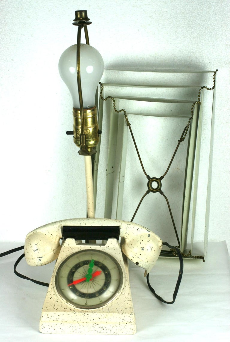 Telephone Clock Table Lamp For Sale 10