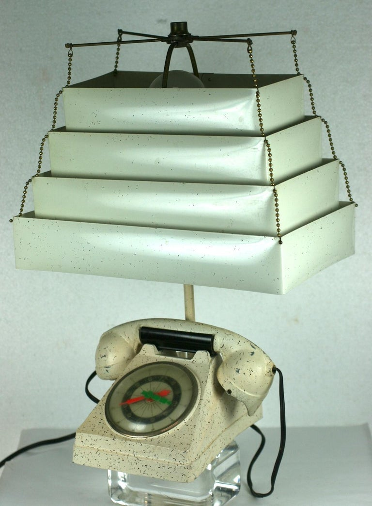 Art Deco Telephone Clock Table Lamp For Sale
