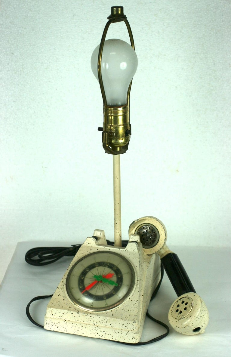 Telephone Clock Table Lamp In Good Condition For Sale In Riverdale, NY
