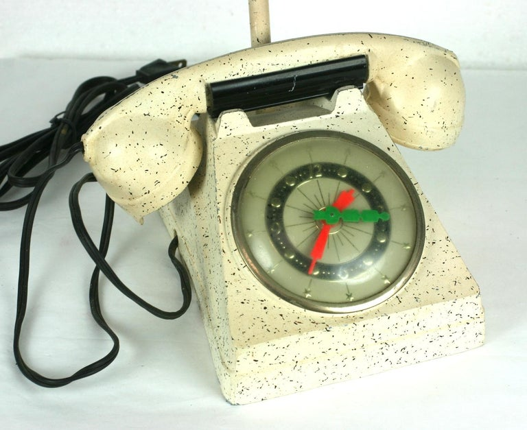 Mid-20th Century Telephone Clock Table Lamp For Sale
