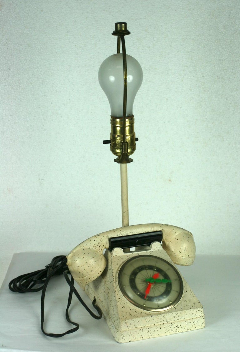 Metal Telephone Clock Table Lamp For Sale