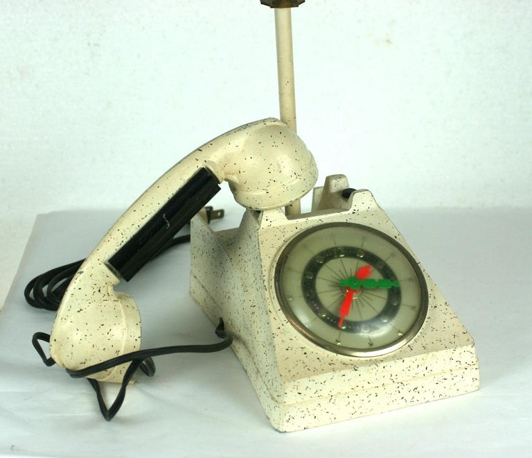 Telephone Clock Table Lamp For Sale 1