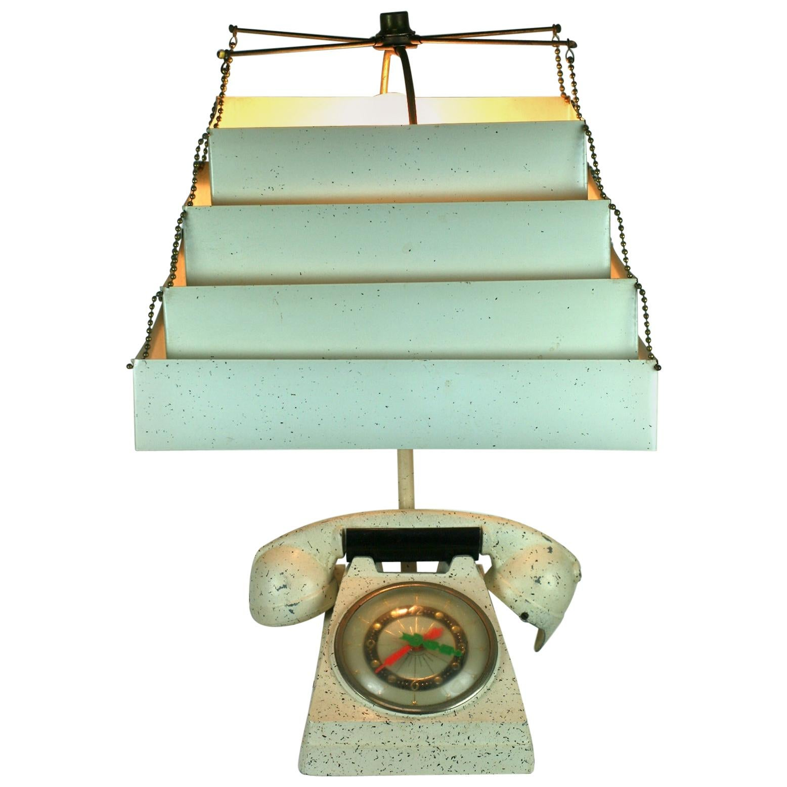 Telephone Clock Table Lamp