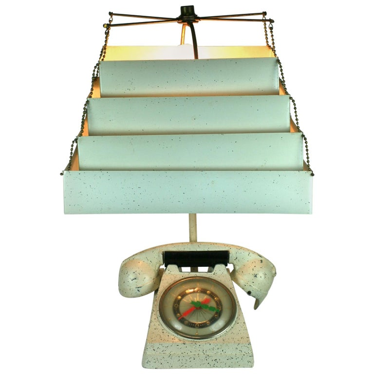 Telephone Clock Table Lamp For Sale