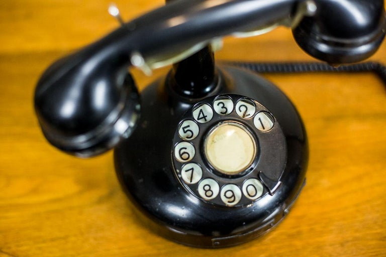 Telephone with a Rotary Dial, circa 1940 In Good Condition For Sale In Opole, PL