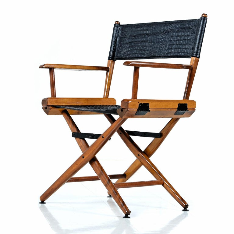 Director Chair Set By Telescope Restored With Black Alligator Leather