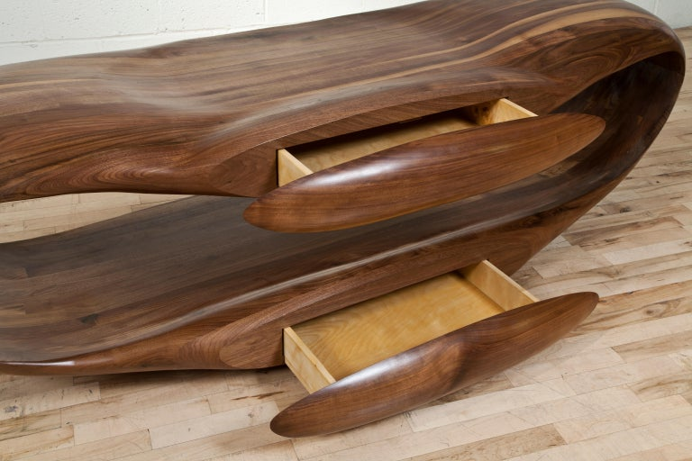 Television Stand in Sculpted Black Walnut by Gildas Berthelot In New Condition For Sale In Collonge Bellerive, Geneve, CH
