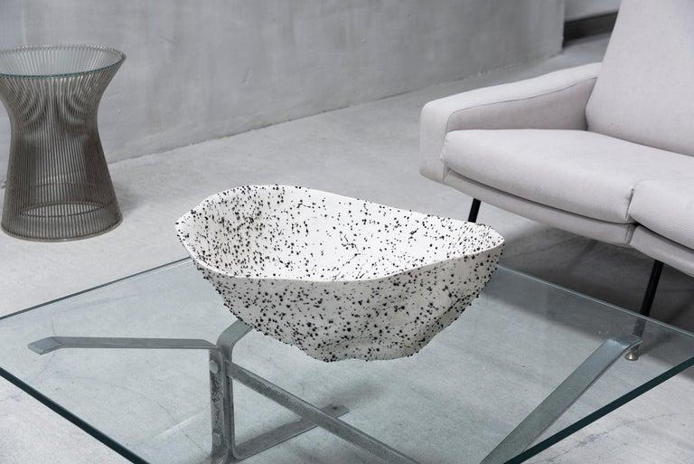 Contemporary Telluride, Stracciatella, Big Bowl, Centrepiece, Volcanic Porcelain, Vessel For Sale
