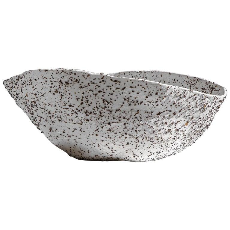 Telluride, Stracciatella, Big Bowl, Centrepiece, Volcanic Porcelain, Vessel For Sale