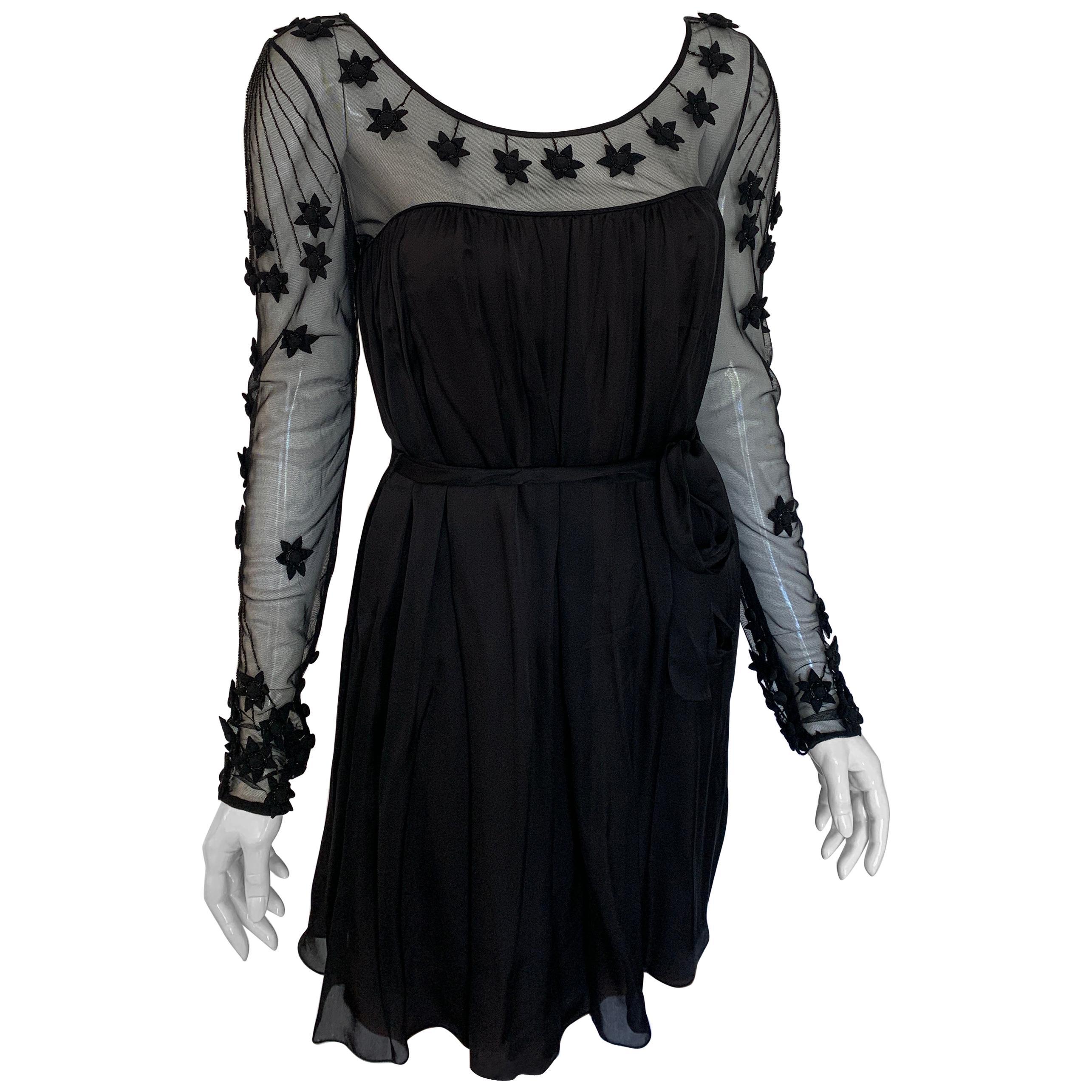 Temperley Black Flower Applique Silk Dress Small
