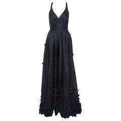 Temperley Black & Navy Blue Satin Floral Applique Detail Gown S