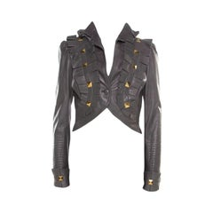 Temperley Grey Leather Ruffle Trim Rock Stud Embellished Cropped Jacket M