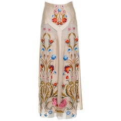 Temperley London Beige Silk Organza Toledo Floral Embroidered Maxi Skirt S