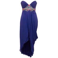 Temperley London Blue Embellished Long Silk Dress US 6