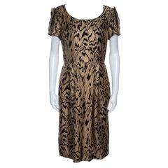 Temperley London Brown and Black Printed Silk Short Sleeve Dress M