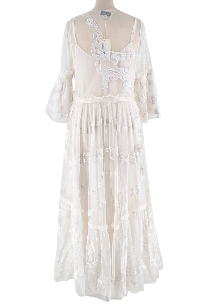 Gray Temperley London Embroidered Mast Midi Dress UK14 For Sale