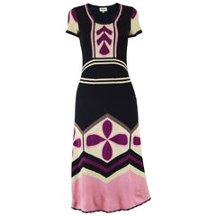 Temperley London Silk Intarsia Knit Pink and Black Short Sleeve Dress