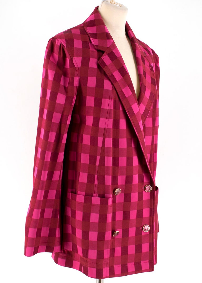 Temperley London Stirling Red & Pink Suit  Longline double breasted blazer Two patch pockets belted wide-leg trousers; blazer button closure; button, bar and zip trousers closure; high quality Italian fabric   Please note, these items are pre-owned