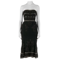 Temperley London Vintage Black Embroidered Beaded Tulle Strapless Dress S