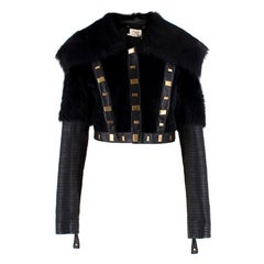 Temperley Studded Shearling & Leather Cropped Jacket SIZE UK 10 / US 6