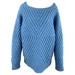 TEMPEST+ BENTLEY Size S Blue Ribbed X Pattern Oversized Wool Sweater