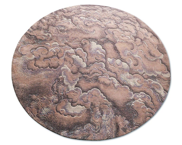 Nepalese Tempest Bronze - Circle Contemporary Luxury Hand Knotted Wool Silk Rug For Sale