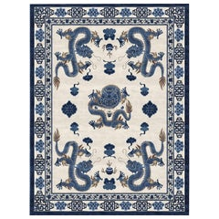 Temple Ceremony Chinese Blue, Traditional Oriental Hand Knotted Wool Silk Rug