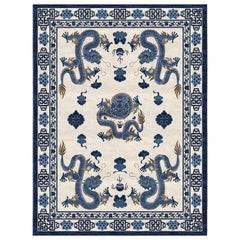Temple Ceremony Chinese Blue - Traditional Oriental Hand Knotted Wool Silk Rug