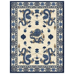 Temple Ceremony Hand-Knotted Wool and Silk 2.7 x 3.6m Rug