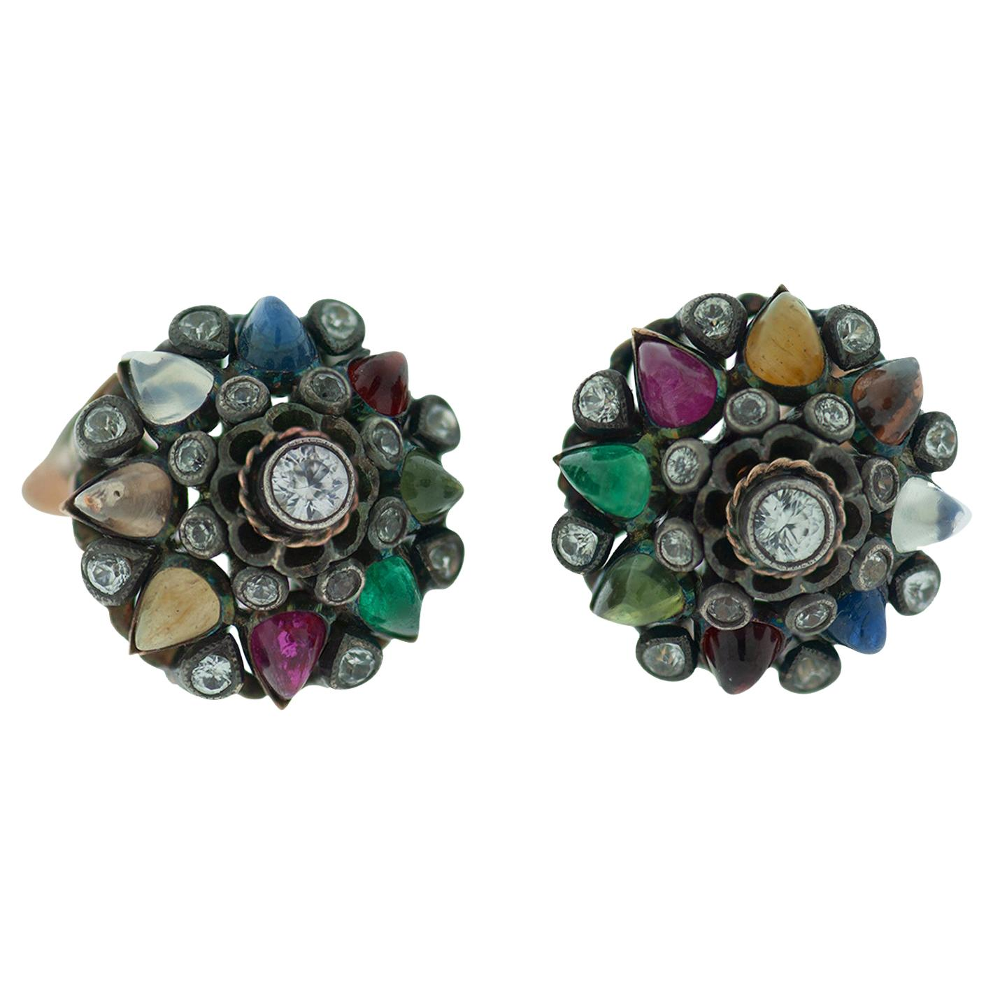 Temple Gemstone and Diamond Clip-On Dome Earrings, 3.50 Carat, circa 1950s