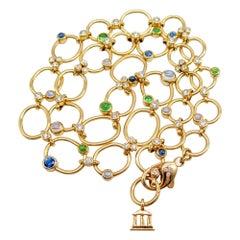 "Temple St Clair 18 Karat Gold Diamond Multistone ""Mare"" Necklace"