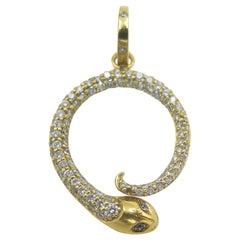 Temple St Clair 18 Karat Yellow Gold Diamond Snake Pendant