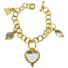 Temple St. Clair 18K Yellow Gold Rock Crystal Charm Bracelet