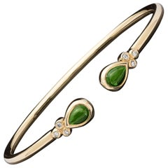 Temple St. Clair Bellina Chrome Diopside and Diamond Cuff Bracelet