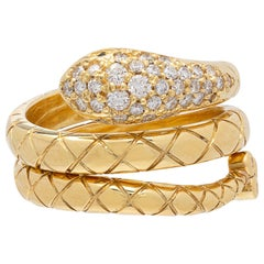 Temple St. Clair Diamond and Gold Snake Ring