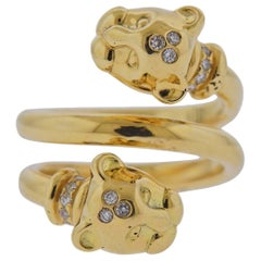Temple St. Clair Diamond Gold Panther Bypass Ring